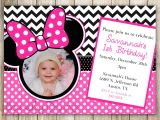 Customized Minnie Mouse First Birthday Invitations Minnie Mouse Chevron Birthday 1st Birthday Invitation 2nd