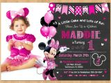 Customized Minnie Mouse First Birthday Invitations Minnie Mouse Invitation Minnie Mouse 1st Birthday First Bday