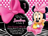 Customized Minnie Mouse First Birthday Invitations Personalized Minnie Mouse First Birthday Invitations