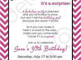 Cute 30th Birthday Invitation Wording Chevron Surprise Party Invitation