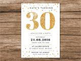 Cute 30th Birthday Invitation Wording Gold 30th Birthday Invitation A6 Digital File by