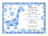 "Cute Baby Shower Invitations for Boys Cute Blue Giraffe Boy Baby Shower Invitation 5"" X 7"