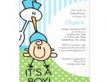 "Cute Baby Shower Invitations for Boys Cute Stork Baby Boy Baby Shower Invitations 5"" X 7"