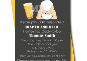 Daddy Baby Shower Invitations Beer and Diaper Baby Shower Invitation Chalkboard Dad Baby