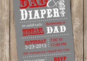 Daddy Baby Shower Invitations Dad Baby Shower Invitation Diaper Baby Shower Invitation Red