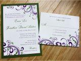 Dark Green Wedding Invitations Dark Purple Green Swirls and Scrolls Wedding Invitations
