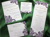 Dark Green Wedding Invitations Dark Purple Swirl with Green Accents Damask Wedding