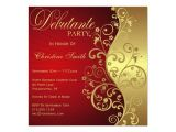 Debutante Party Invitations Red Gold Debutante Party Invitation Zazzle
