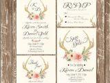 Deer Antler Wedding Invitations Invitation Kit Deer Antler Wedding Invitation Rustic