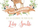 Deer themed Baby Shower Invitations Oh Deer Baby Shower Invitation Girl Boho Woodland
