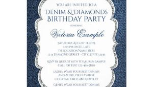 Denim Party Invitation Template Denim and Diamond Bling Birthday Party Invitations