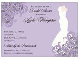 Designer Bridal Shower Invitations Elegant Gown Lilac Bridal Shower Invitations Paperstyle