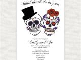 Dia De Los Muertos Wedding Invitations until Death Do Us Part Wedding Invitation Sugar Skulls
