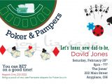 Diaper Poker Party Invitations Poker and Pampers Diaper Shower Digitial File Only Print