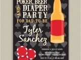 Diaper Poker Party Invitations Poker Beer and Diaper Party for Dad Personalized Invitation