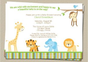 Digital Baby Shower Invitations Email Digital Jungle theme Baby Shower Invitation Safari Zoo