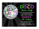 Disco Party Invites Printable Disco Ball Neon Invitation Printable or Printed Par