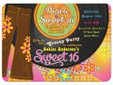Disco theme Party Invitations 1970s Disco Sweet 16 Invitation Bellbottoms Record Album
