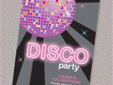 Disco theme Party Invitations Free Disco Ball Birthday Party Invitation Personalized Printable