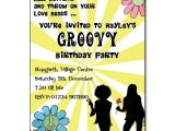 Disco theme Party Invitations Groovy Party Invitation Personalised Party Invites