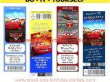 Disney Cars Birthday Invitations Tickets Free Printable Disney Cars Birthday Party Ticket