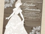 Disney Princess Bridal Shower Invitations Rustic Wooden Vintage Disney Princess Belle Silhouette