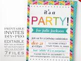 Diy Birthday Invitations Templates Diy Rainbow Birthday Party Invitation Template Rainbow