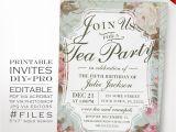 Diy Birthday Invitations Templates Diy Vintage Rose Tea Party theme Birthday Invitation