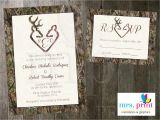 Diy Camo Wedding Invitations Camo Deer Hearts Wedding Invitation Rsvp Card Mrsprint