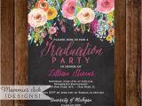 Diy Graduation Party Invitations Graduation Party Invitation Watercolor Flowers Invitation