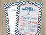 Diy Nautical Baby Shower Invitations Nautical Baby Shower Invitation Diy Card Blue Chevron