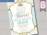 Diy Prince Baby Shower Invitations Baby Shower Invitation Prince Crown for Boy and Gold Glitter