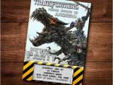 Diy Transformer Birthday Invitations Transformers Dinobot Birthday Card Customized Birthday
