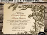 Diy Tree Wedding Invitations Vintage Old Oak Tree Diy Wedding Invitations 5 X 7