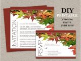 Diy Wedding Invitations and Rsvp Cards Diy Fall Wedding Invitations with Rsvp Cards Printable Fall