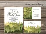 Diy Woodsy Wedding Invitations Watercolor Trees Wedding Invitation Rustic Mountain