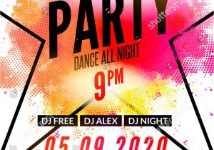 Dj Party Invitation Templates Lets Party Design Poster Night Club Stock Vector