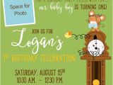Dock Party Invitations Nursery Rhyme Hickory Dickory Dock First Birthday