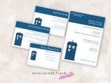 Doctor who Wedding Invitation Template Diy Wedding Invite Set Template Doctor who Tardis Blue 5×7