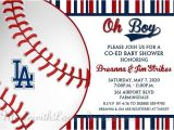 Dodger Party Invitations Los Angeles Dodgers Baseball Invitations Baby Shower