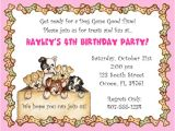 Dog Party Invitations Template Free Dog themed Birthday Party Invitations Template Free