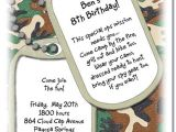 Dog Tag Birthday Invitations Dog Tags Invitations Military Invitations Ouflage