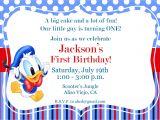 Donald Duck Baby Shower Invitations Donald Duck Invitation 1st Birthday Invitation Kid S