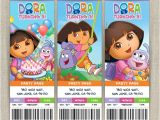 Dora Customized Birthday Invitations Personalized Dora the Explorer Birthday Ticket Invitation Card