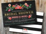 Double Bridal Shower Invitations Glitter and Floral Bridal Shower Invitation Double Sided