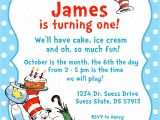 Dr Seuss 1st Birthday Party Invitations Dr Seuss Birthday Invitations Wording