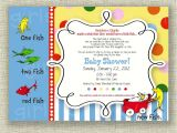 Dr Seuss themed Baby Shower Invitations Dr Seuss Baby Shower Invitation E Fish Two Fish Boy or Girl