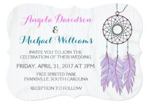 Dreamcatcher Wedding Invitations Bohemian Dreamcatcher Rustic Wedding Invitation Zazzle
