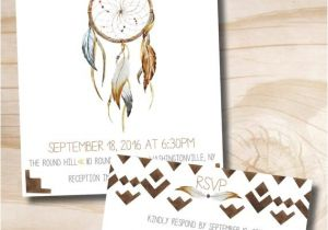 Dreamcatcher Wedding Invitations Boho Dreamcatcher Wedding Invitation and Response Card