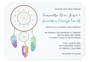 Dreamcatcher Wedding Invitations Boho Dreamcatcher Wedding Invitation Zazzle